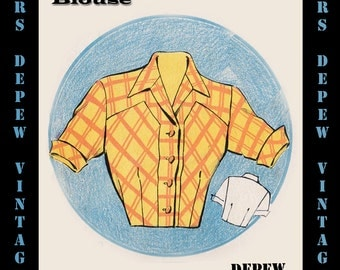 Vintage Sewing Pattern 1950's Short Sleeve Blouse in Any Size - PLUS Size Included - Depew 6060 -INSTANT DOWNLOAD-