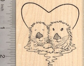 Valentine's Day Sea Otter Rubber Stamp, Otters in Heart  J20810 Wood Mounted