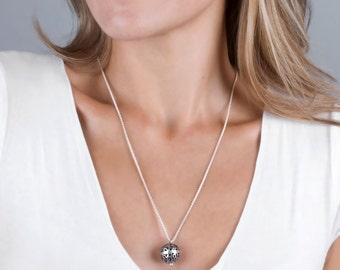 Oxidized Silver Necklace, Ball Necklace, Bohemian Necklace, Sterling Silver Necklace, Silver Filigree Necklace, Boho Necklace Layering