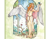 Angel of Spring with Luna Moth, Butterflies, and Flowers Mucha Inspired Art Nouveau Angels of the Seasons Series Fine Art Print