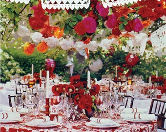Amor Wedding garlands (3 strands included for the price shown) All flags have the Amor design on them Papel Picado Fiesta Tissue Paper Flags