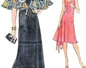1970s Dress Pattern Vogue 9063 Day Evening Sleeveless Fit and Flare Dress Cape Shawl Womens Vintage Sewing Pattern Bust 32 1/2 Uncut