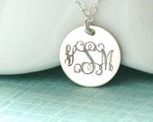 Engraved Monogram Necklace, Entwined Script in Silver, Initials, Custom Necklace, Engraved Pendant, Mother's Jewelry, Birthday Gift