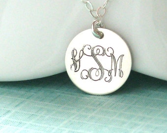 Engraved Monogram Necklace • Entwined Script • Initials • Custom Necklace • Engraved Pendant • Mother's Jewelry • Birthday Gift