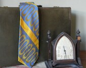 Vintage Tiffany necktie - abstract diagonal stripe blue mustard yellow - Peerage Marshall Field
