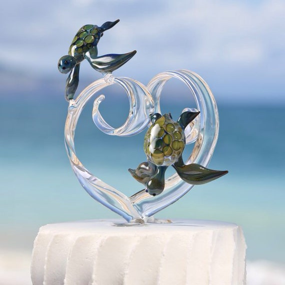 personalized glass wedding cake toppers custom glass wedding cake topper with two turtles 18263