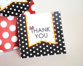 INSTANT DOWNLOAD (Digital) Thank You Favor Tag Inspired by Minnie Mouse - Classic Red, Black and White with Polka Dots