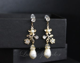 Delicate Gold Wedding Earrings  White Ivory Pearl Dangle Flower Bridal Earrings with Pearl And Crystal Rhinestone SABINE GARDEN EARRINGS