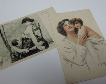 Pair of vintage postcards of Mamma and child (Italian)