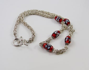 Argentium Sterling Silver Byzantine weave and Lampwork Glass Chainmaille Necklace -Handmade - Anniversary