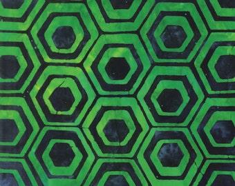 Honeycomb Geometric Batik Green Pop Art Kaufman Fabric 1 yard