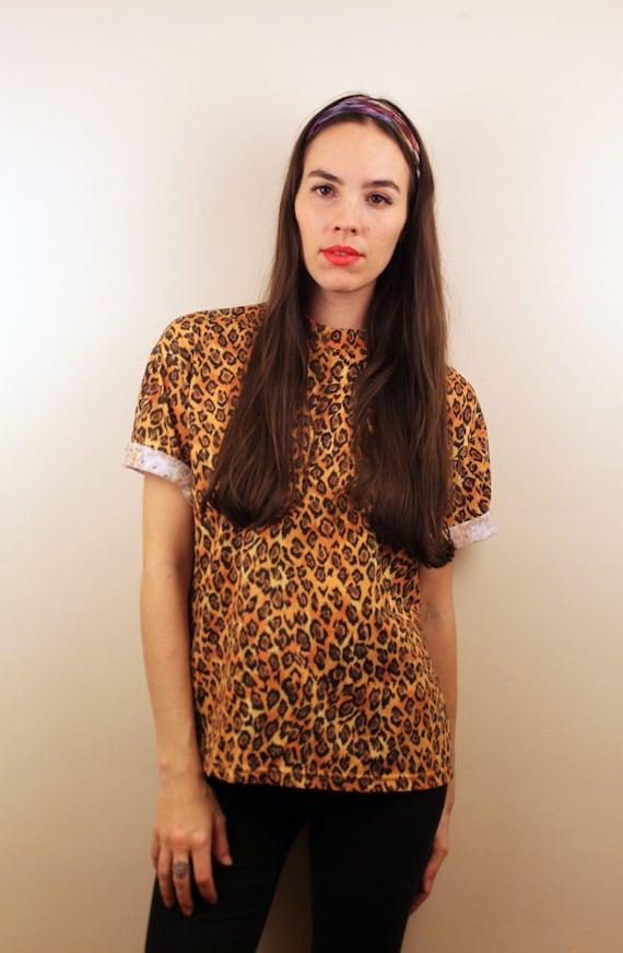 1990s Leopard Print T Shirt Size S-M