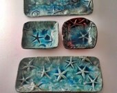 Raku tray: Tide Pool starfish shell teal ocean designer pottery handmade