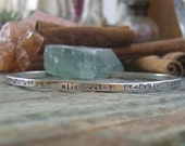 Hand Stamped sterling silver thin stacking personalized cuff bracelet