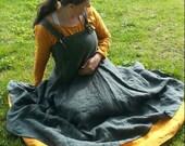 2 Piece Set Custom Linen Norse Viking Apron and Under Dress SCA LARP Pennsic Reenactment