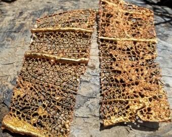 Gold Rectangle Sea Fan Coral Earrings