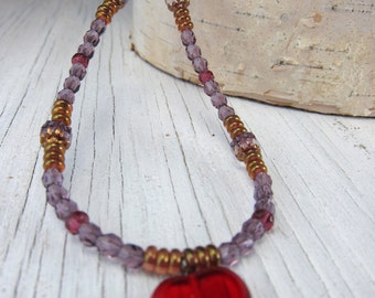 Red Glass Heart Necklace- Czech Glass