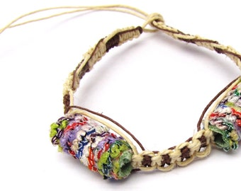 Wild Fiber Beads on Natural and Brown Hemp Necklace