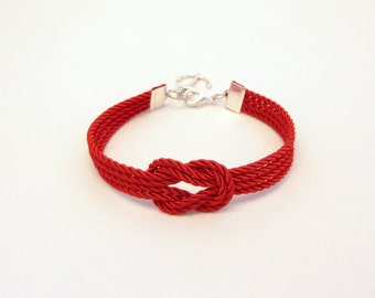 Red forever knot nautical rope bracelet with silver anchor charm