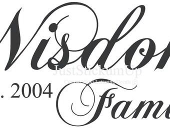 Family Name Custom Monogram Wall Art Words Vinyl Lettering Decal