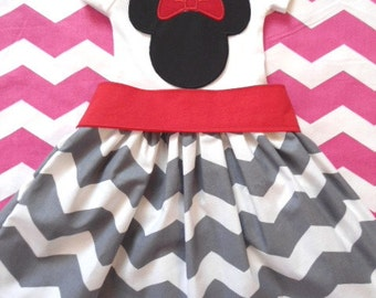 Custom Boutique Clothing Minnie Mouse Dress, Disney Dress, Girls Gray White Chevron Dress, Birthday Dress, Red Sash, Custom Girls Dress