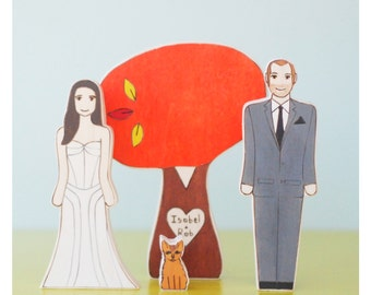 Custom Fall Wedding Cake Topper Couple with Pet and Personalized Large Fall Sweetheart Tree