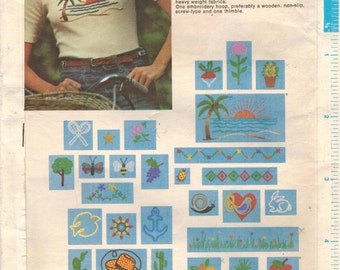 1970s Butterick 3551 UNCUT Vintage Embroidery Transfers Nature Motifs and More