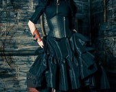 Steampunk Skirt - Pirate Gothic Renaissance - Asymmetrical Circle Hem - Black Ellis Style-custom to your size - KMKDesignsllc