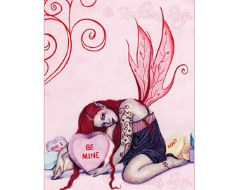 Candy Hearts ACEO Print gothic Valentine's Day Fairy Artist Trading Cards ATC Fantasy Art Pink Conversation hearts