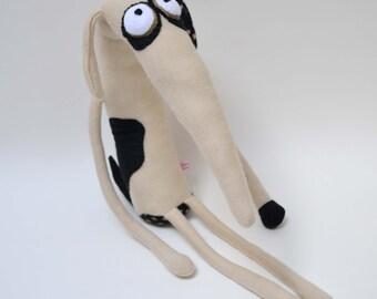 Whippet dog plush black and white dog art doll greyhound