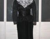 Vintage Gunne Sax Satin Peekaboo Lace Cocktail Peplum Dress New Years Party Gown Dress