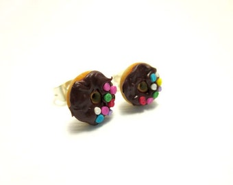 Vanilla Donut with Chocolate Icing and Half Sprinkles Earrings, Miniature Food Jewelry, Polymer Clay Food Jewelry,