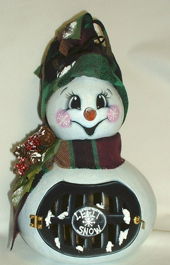 Light Up Gourd Snowman Hand Painted By Fromgramshouse On Etsy