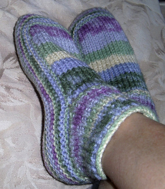 Knitting Gifts For Adults : Items similar to hand knitted slippers adult size small