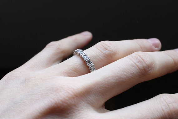 Engagement Ring, Half Endless ring, Fine Jewelry, Wedding ring, Sterling silver and White stone, Cubic zirconia,  Made to order in your size