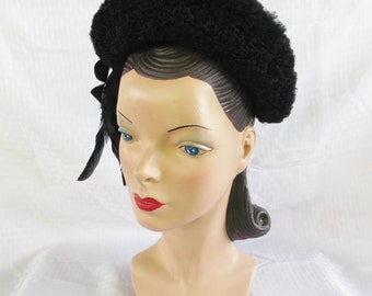 Clearance 1940's Vintage Black Hat with Faux Curly Lamb and Feathers by Robillard