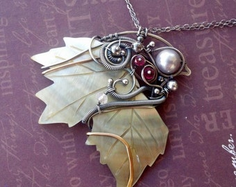 Growing Leaf shell necklace sterling silver Fine silver brass wire wrapped freeform Ruby Rose quartz south sea shell pearl double chain