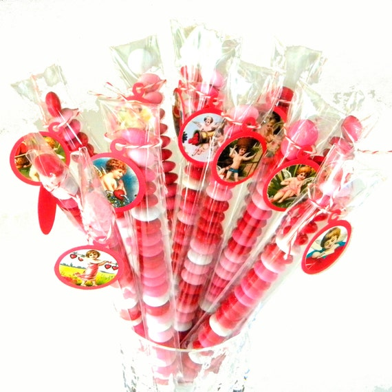Valentine Favors, Victorian Cupids, Candy Treat Bags - Set of 12