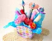 SALE Candle Gift Basket Unique Love Gift Basket Conversation Heart I Love You Gift Candles Beeswax Heart Taper Chocolate Candy Flowers