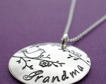 Grandmother Bird Necklace - Custom, Handdrawn image - Personalized Jewelry in Sterling Silver by EWD - Gift for Nana, Mama, Mom, Gram