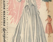 REDUCED price was 36.00 VINTAGE 1940s Unused Simplicity WEDDING Dress  Pattern Sweetheart Neckline Size 12 Bust 30 Length and Sleeve Options