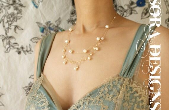 Bridal necklace, wedding jewelry, Gold circle pearls layering, bridal wedding necklace, double layer pearl linked circles wedding necklace