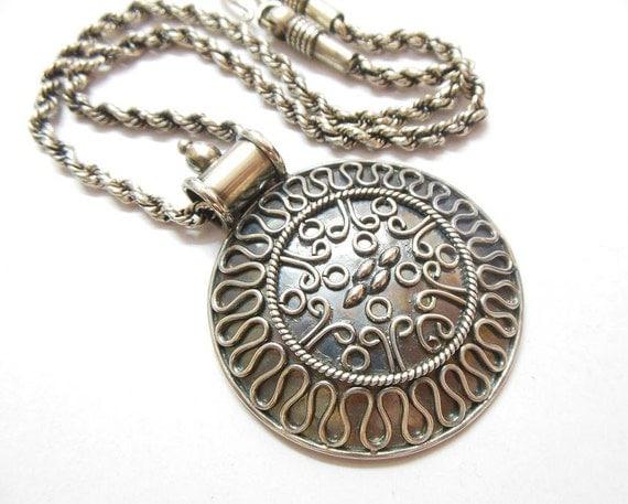 Medallion necklace - Ethnic pendant - Artisan pandant - Bold pendant - Round pendant necklace - Gift for her