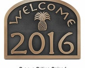 Welcome Pineapple Address Plaque Home Numbers Sign Tropical Decor Name Plaque 16x12.6 inches You choose the finish