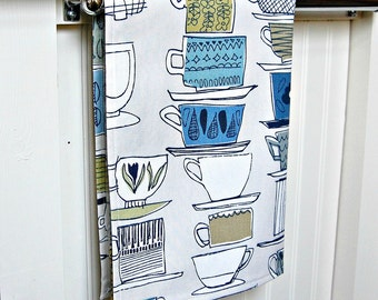 tea cups blue teal olive retro tea towel, kitchen towel stacked cups