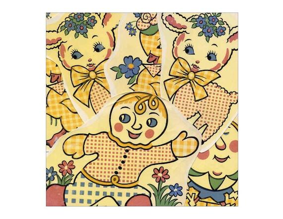 Vintage Nursery Rhyme Water Mount Decals Set of 8 Ceramic Decals Lamb Duck Gingerbread Boy Bunny