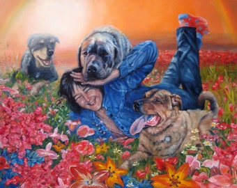 "Over The Rainbow Bridge, CUSTOM Pet Portrait Oil Painting by puci, 18x24"" (pets w/person)"