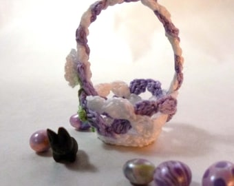 White and Lavender Miniature Crochet Basket
