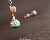 Meli Light Coral & Turquoise n'84- Earring dangle,polymer clay, glass,bead,cristal rhinestone,chic,colorful,silver,ethnic