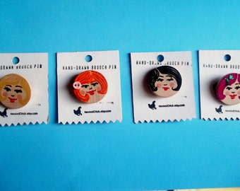 1 inch Brooch Pin with Hand-Drawn Cute Face, Black Hair